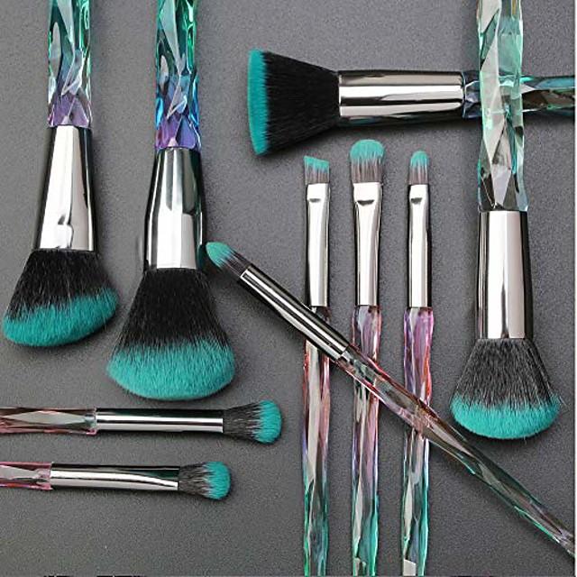 10 pcs diamond professional makeup brush set powder eyebrow eye shadow lip blush shinning beauty makeup brushes kits(green)