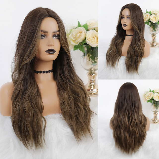Cosplay Costume Wig Synthetic Wig Ombre Wavy Body Wave Middle Part Wig Long Dark Brown Synthetic Hair 26 inch Women's Heat Resistant Party Color Gradient Brown Ombre EMMOR / Ombre Hair