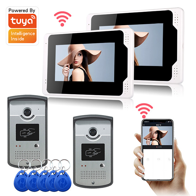 WIFI / Wired & Wireless Recording 7 inch Hands-free One to One video doorphone