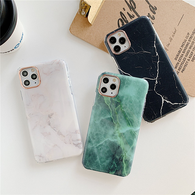 Case For Apple iPhone 12 / iPhone 12 Mini / iPhone 12 Pro Max Plating / IMD / Frosted Back Cover Marble TPU