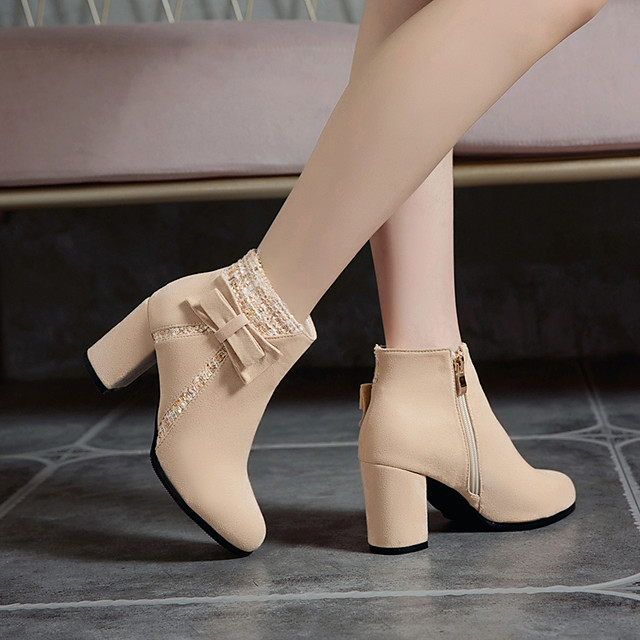 Women's Boots Block Heel Boots Block Heel Round Toe Booties Ankle Boots Preppy Daily Party & Evening Nubuck Bowknot Buckle Color Block Black Beige / Booties / Ankle Boots / Booties / Ankle Boots