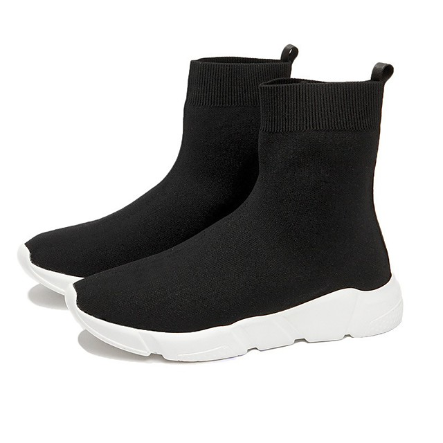 Women's Boots Sock Boots Flat Heel Round Toe Booties Ankle Boots Casual Daily Tissage Volant Solid Colored Black