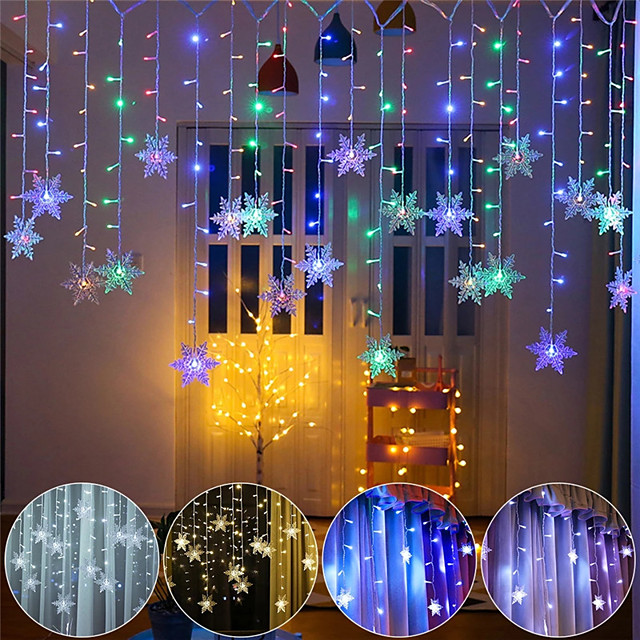 3.5M Christmas Decoration Colorful Snowflake LED Fairy String Light 96 LED Flashing Curtain Light Waterproof Outdoor Holiday Party Connectable Wave Flexible Lights Christrmas Gift AC 100V-240V