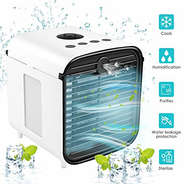 air cooler,  portable air conditioner, personal space cooler with diffuser and sterilize, small desktop fan personal table fan humidifier for office/home/kitchen