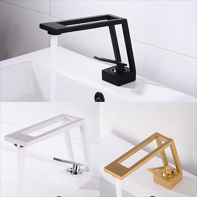 Single HandleBathroomFaucet,Electroplated/Brushed One Hole Hollow Out/Irregular/Centerset,Brass Contemporary Bathroom SinkFaucet Contain with Supply Lines