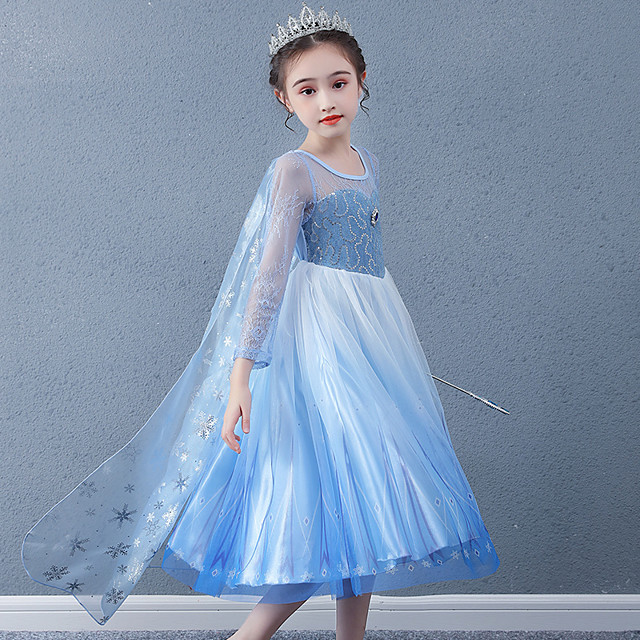 Princess Cosplay Costume Masquerade Girls' Movie Cosplay A-Line Slip Vacation Blue Dress Shawl Halloween Children's Day Masquerade Organza Cotton