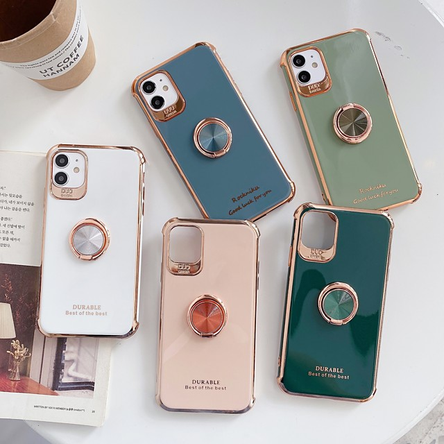Case For Apple iPhone 11 / iPhone 11 Pro / iPhone 11 Pro Max Shockproof / Plating / Ring Holder Back Cover Solid Colored TPU