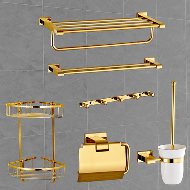 Bathroom Accessory Set Contemporary Brass 6pcs Include Bathroom Tower Rack Toilet Paper Holders and Robe Hook with 5 Hooks Gold