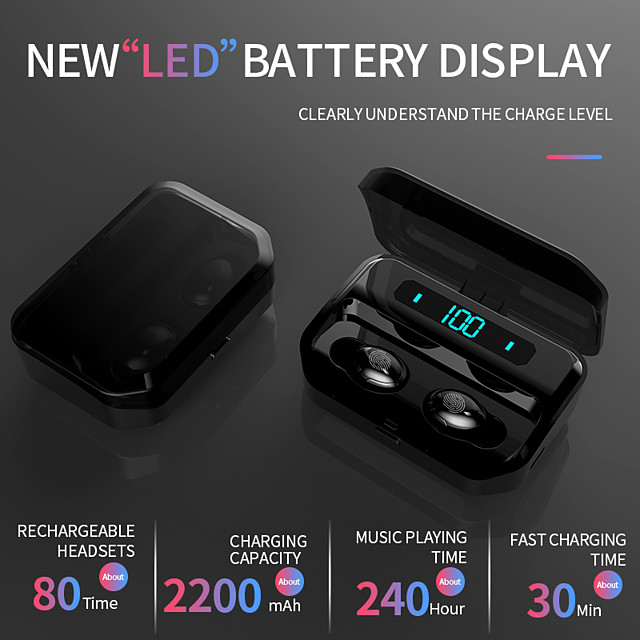 G12 Wireless Earbuds TWS Headphones Bluetooth5.0 Stereo with Volume Control IPX5 Mobile Power for Smartphones Smart Touch Control for Mobile Phone