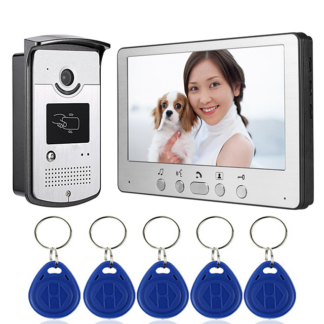 Wired 7 Inch Hands-free Monitor Video Doorphone Intercom with Infrared Night Vision Camera