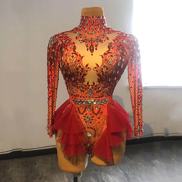 أزياء الرقص ملابس رقص غريبة / قمصان الرضعثوب الراقص نموذج / طباعة كريستال / أحجار الراين نسائي أداء كم طويل سباندكس