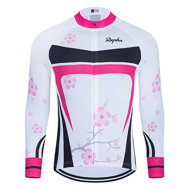 WECYCLE Men's Women's Long Sleeve Cycling Jersey Winter Polyester White Floral Botanical Bike Jersey Top Mountain Bike MTB Road Bike Cycling Breathable Quick Dry Reflective Strips Sports Clothing