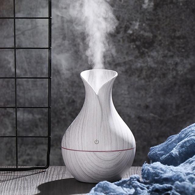 White Wooden Grain Mini LED Ultrasonic Air Humidifier Diffuser Essential Oil Mist Aroma Air Purifier