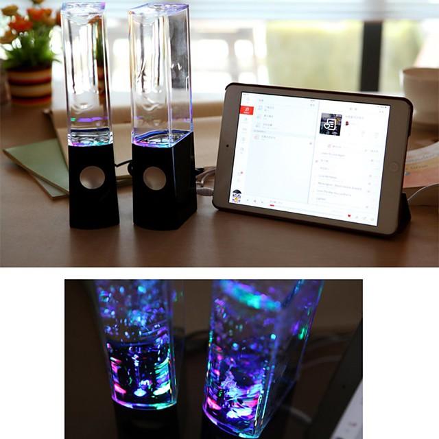 LED Light Fountain Light Speakers 2PCS Colorful Lights Dancing Water Music for PC Laptop For Phone Portable Desk Stereo Speaker