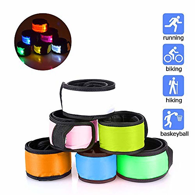 6 halloween safety lights glow band safety gear lights for cycling walking running, replaceable battery 4 modes lights for running at night