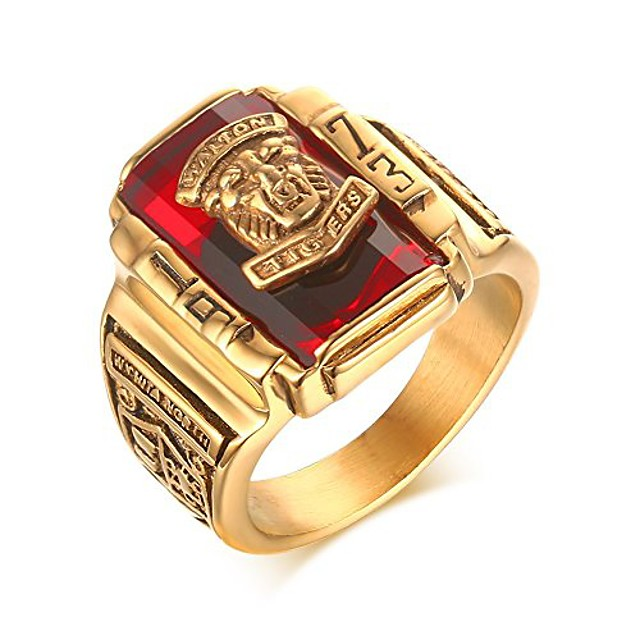 stainless steel red rhinestone 1973 walton tigers signet ring for men,18k gold plated size 10