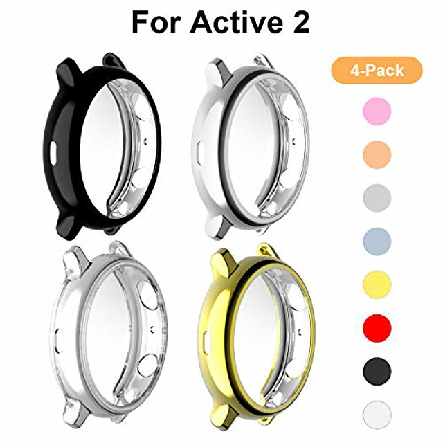 [4 pack] kakufunny compatible with samsung galaxy watch active 2 case 44mm, tpu bumper full coverage screen protector (black + silver + clear + gold)