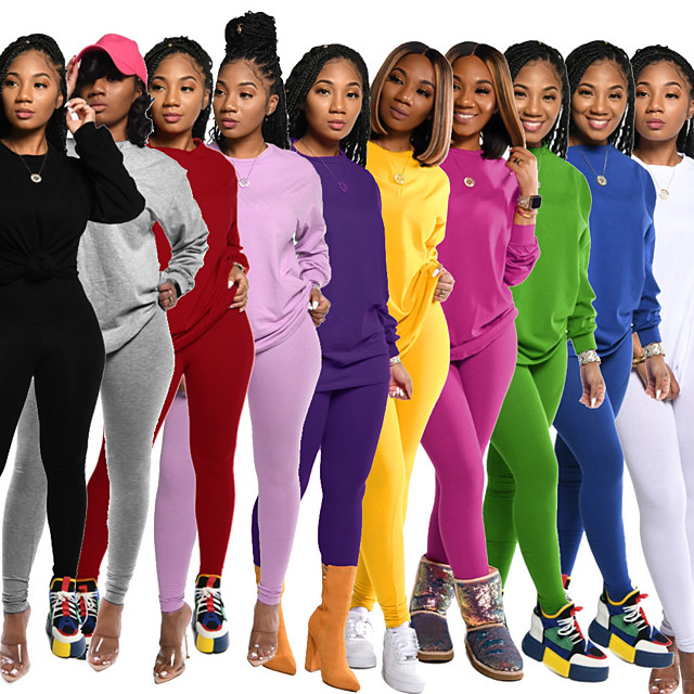 Women's 2 Piece Tracksuit Sweatsuit Street Athleisure 2pcs Winter Long Sleeve Elastane Thermal Warm Breathable Soft Fitness Gym Workout Running Jogging Training Sportswear Solid Colored Normal