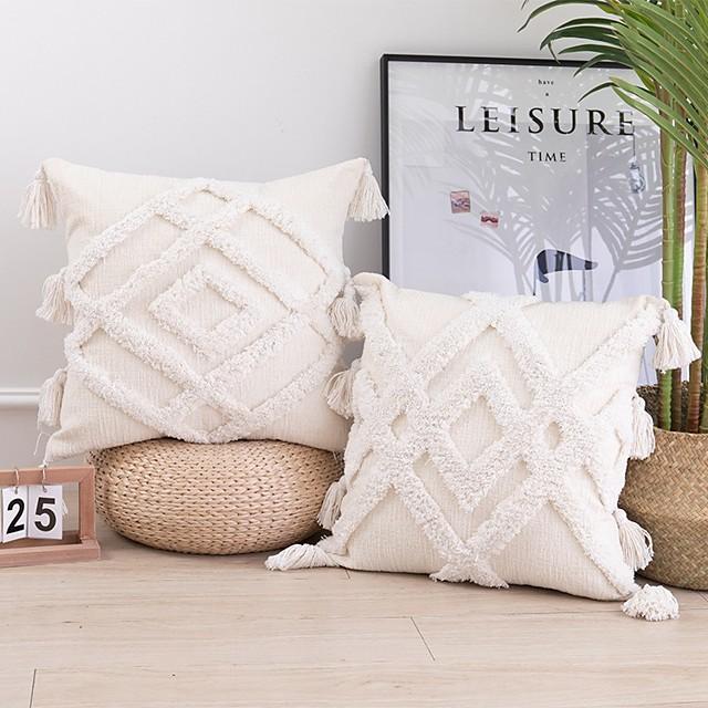 2 Stück Baumwollkissenbezug, Gittermuster quadratisch traditionell klassisch je 1 Muster