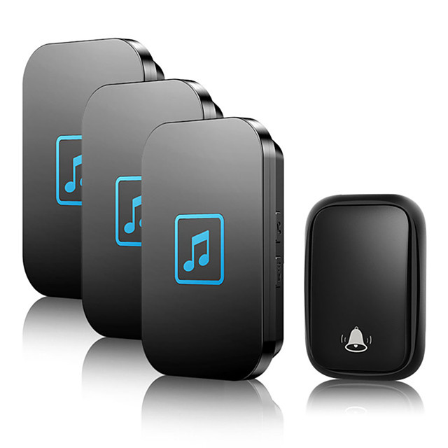 CACAZI Self-powered Home Wireless Doorbell Waterproof No Battery Button 1 Transmitter 3 Receiver