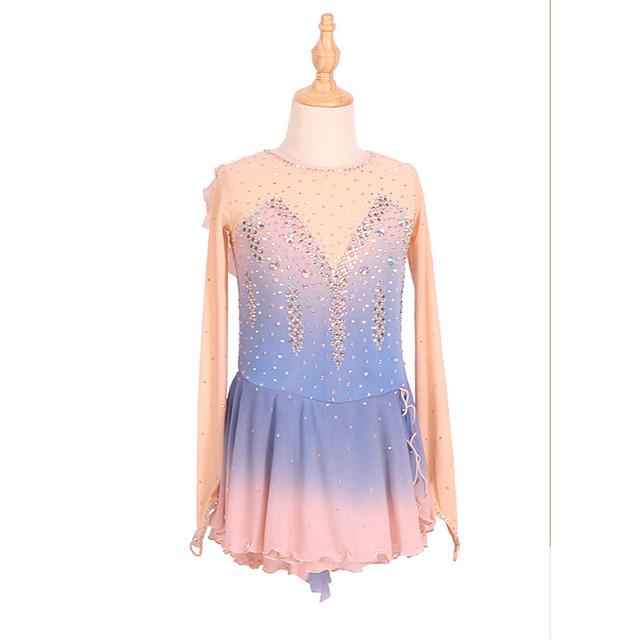 Figure Skating Dress Women's Girls' Ice Skating Dress Blue+Pink Ruffle Asymmetric Hem Spandex High Elasticity Training Competition Skating Wear Handmade Patchwork Crystal / Rhinestone Gradient Color