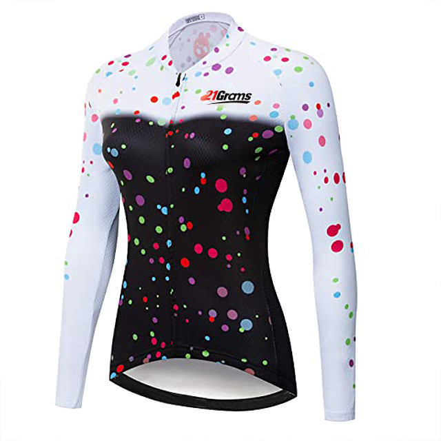 21Grams Women's Long Sleeve Cycling Jersey Winter Fleece Polyester Black Bike Jersey Top Mountain Bike MTB Road Bike Cycling Thermal Warm UV Resistant Fleece Lining Sports Clothing Apparel / Stretchy