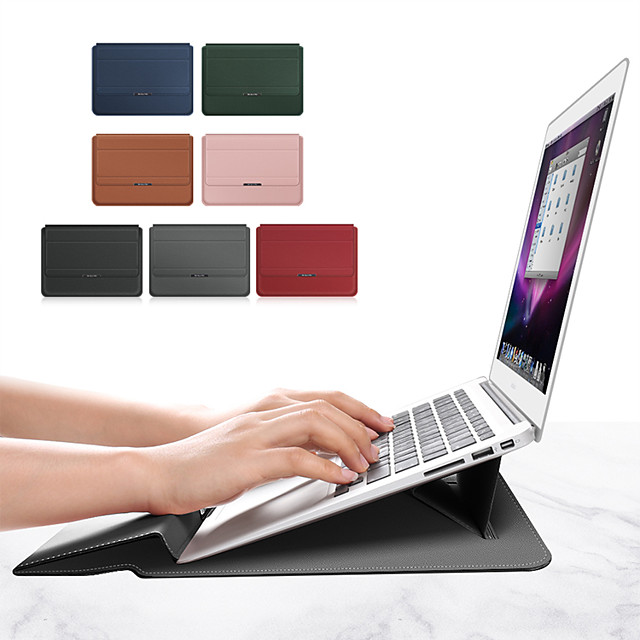 10 Inch Laptop / 11.6 Inch Laptop / 12 Inch Laptop Sleeve PU Leather / Polyurethane Leather Solid Colored / Classic for Men for Women for Business Office Shock Proof