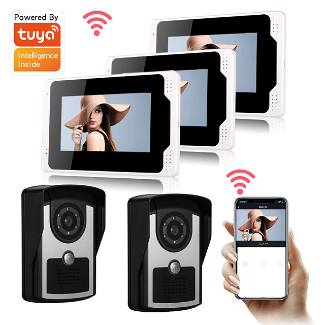 Tuya Smart 1080P HD Camera Wired 7inch Monitor DoorBell Video door bell Visual Intercom Rainproof Door Camera PIR Motion Detector