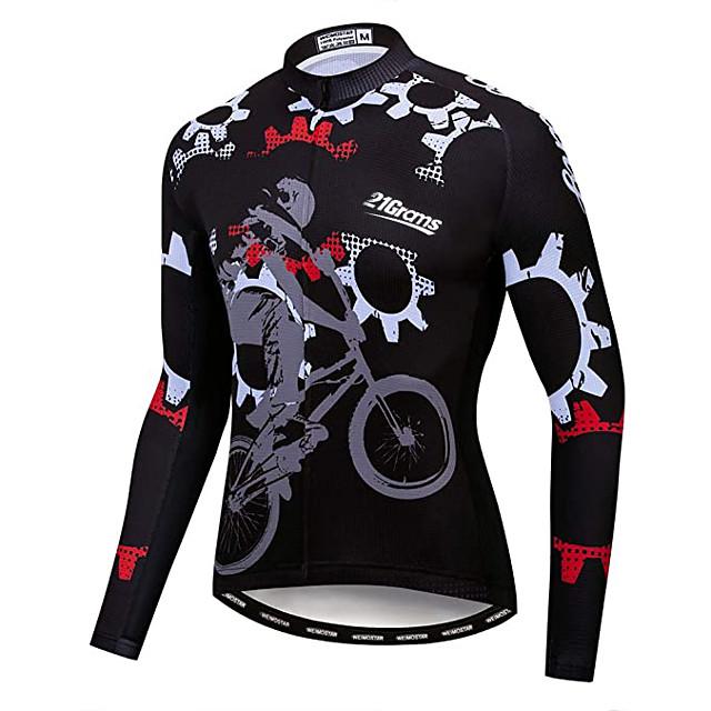 21Grams Men's Long Sleeve Cycling Jersey Winter Fleece Polyester Black Gear Bike Jersey Top Mountain Bike MTB Road Bike Cycling UV Resistant Fleece Lining Breathable Sports Clothing Apparel / Warm