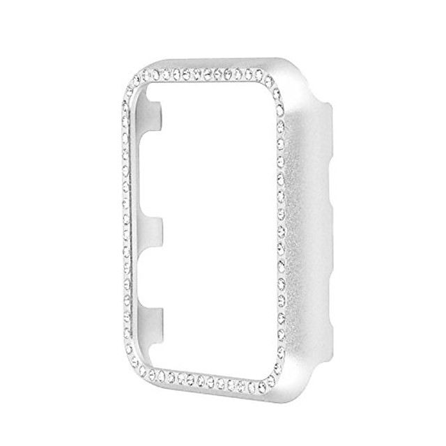 replacement for iwatch series 3/2/1 bumper case bling crystal rhinestone diamond aluminum frame cover (silver, 38 mm)