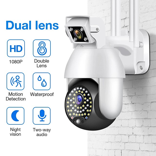 Dual Lens 1080P PTZ IP Camera Wifi Outdoor Speed Dome Wireless Wifi Security Camera Pan Tilt 4X Digital Zoom Surveillance CCTV
