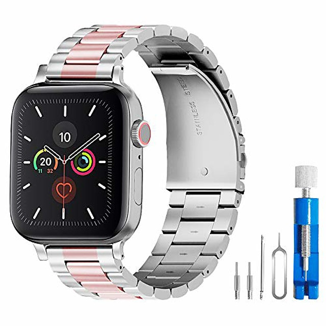 band compatible with apple watch 38mm 42mm stainless steel wristband metal buckle clasp iwatch 40mm 44mm strap bracelet for apple watch series 4/3/2/1 sports edition(silver/rose gold, 38mm)