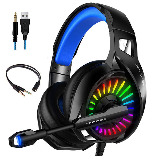 Gaming Headset with Microphone RGB Light Wired PC Headset with 7.1 Stereo Surround Sound Over-Ear Headphones for PC Laptop
