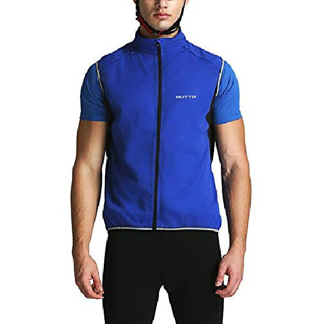 Men's fluorescent green Black Blue Solid Color Bike Jersey Top Breathable Quick Dry Reflective Strips Sports Clothing Apparel / Athleisure / Sweat-wicking