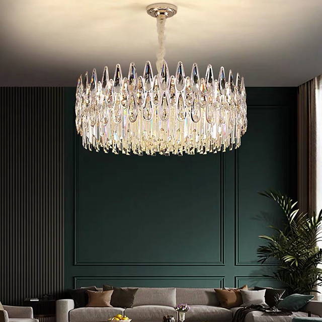 60 cm Crystal Chandelier Luxury Pendant Light Metal Electroplated Modern 110-120V 220-240V