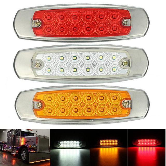 2Pcs 12LED Sealed Side Marker Clearance Lamp Trailer Truck Turn Signal Light Amber 24V Waterproof