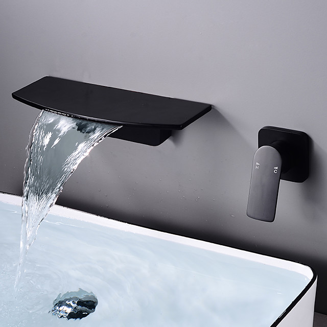 Brass Wall Mount Bathroom Faucet,Black/White Waterfall Electroplated Mount Inside Single Handle One Hole Bath Taps with Hot and Cold Switch