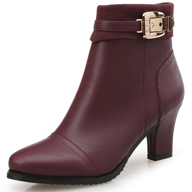 Women's Boots Block Heel Boots Block Heel Round Toe Booties Ankle Boots Classic Vintage Preppy Daily Office & Career Faux Leather Solid Colored Wine Black / Booties / Ankle Boots