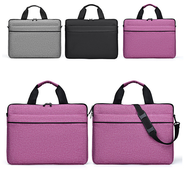 13.3 Inch Laptop / 14 Inch Laptop / 15.6 Inch Laptop Sleeve / Shoulder Messenger Bag / Briefcase Handbags Polyester Solid Colored / Textured for Men for Women for Business Office Waterpoof Shock Proof