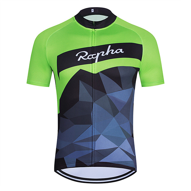 WECYCLE Men's Women's Short Sleeve Cycling Jersey Polyester Green Geometic Bike Jersey Top Mountain Bike MTB Road Bike Cycling Breathable Quick Dry Reflective Strips Sports Clothing Apparel