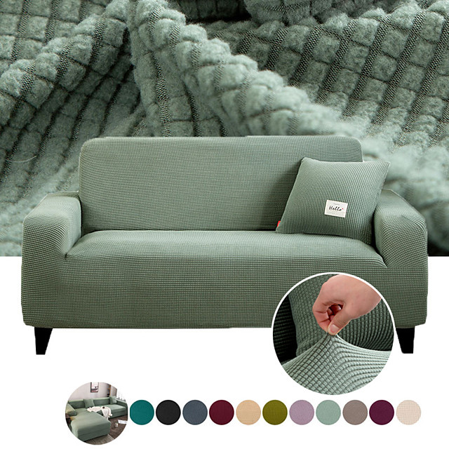 Sofa Cover Stretch Couch Cover Slipcover Furniture Protector Solid Color Anti-Slip Soft Cover Fit for Armchair/ Loveseat/ Three Seater/ Four Seater/ L Shape Sofa Full Protection Easy to Install & Care