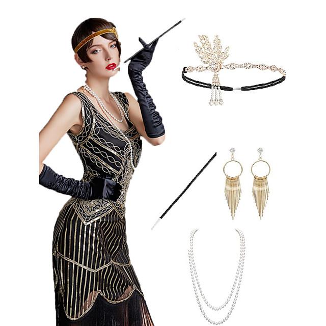 The Great Gatsby Čarlston 1920s Gatsby Roaring 20s Setovi dodataka za kostime Rukavice Traka za kosu u stilu 20-ih Žene Rese Kostim Šeširi Naušnica Igazgyöngy nyaklánc Crn / Zlatan / Crna + Sliver