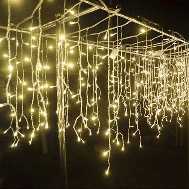 4M String Lights Outdoor Curtain Lights 96 LEDs Icicle Curtain Light Warm White Blue White RGB 8 Modes Christmas Garden Patio Roof Window Decoration Lamp Waterproof 1Pack 3Packs