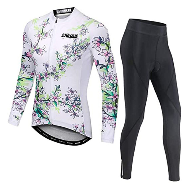 21Grams Men's Long Sleeve Cycling Jersey with Tights Winter Fleece Polyester White Floral Botanical Bike Clothing Suit Thermal Warm Fleece Lining Breathable 3D Pad Quick Dry Sports Graphic Mountain