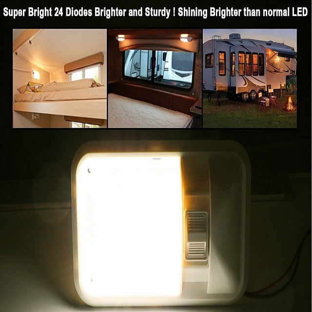 2Pcs 3.5W 6500K 2 X Neutral White 24 LED  Caravan RV Jeep Fixture Single Dome Interior Light