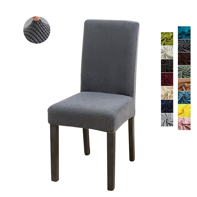 1 Piece Solid Color Stretch Removable Washable Dining Chair Covers, Dining Room Chair Protector Seat Slipcover for Hotel,Banquet,Wedding,Party