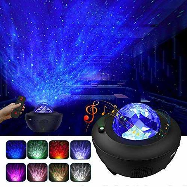 Night Light Projector  Galaxy Projector Starry Sky Projector Lamp with Remote Control 2 in 1 Star Projector with LED Nebula Cloud Moving Ocean Wave Projector for Kid Baby Built-in Music Speaker Voice