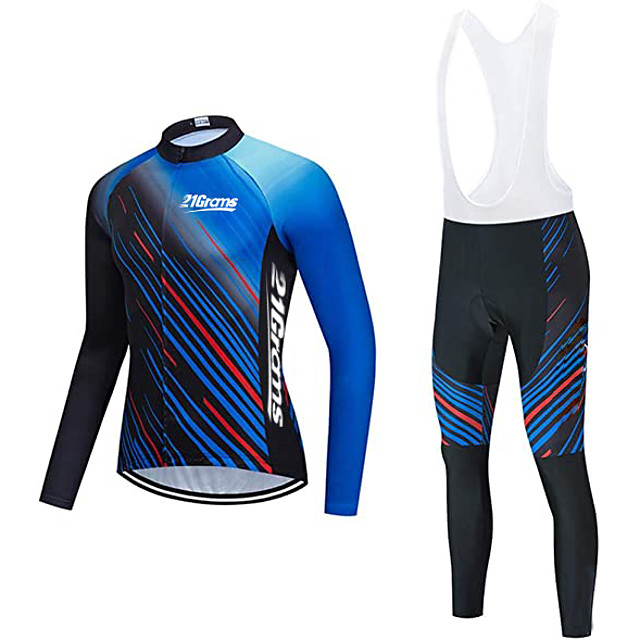 21Grams Men's Long Sleeve Cycling Jersey with Bib Tights Winter Fleece Polyester Blue Bike Clothing Suit Thermal Warm Fleece Lining Breathable 3D Pad Quick Dry Sports Graphic Mountain Bike MTB Road