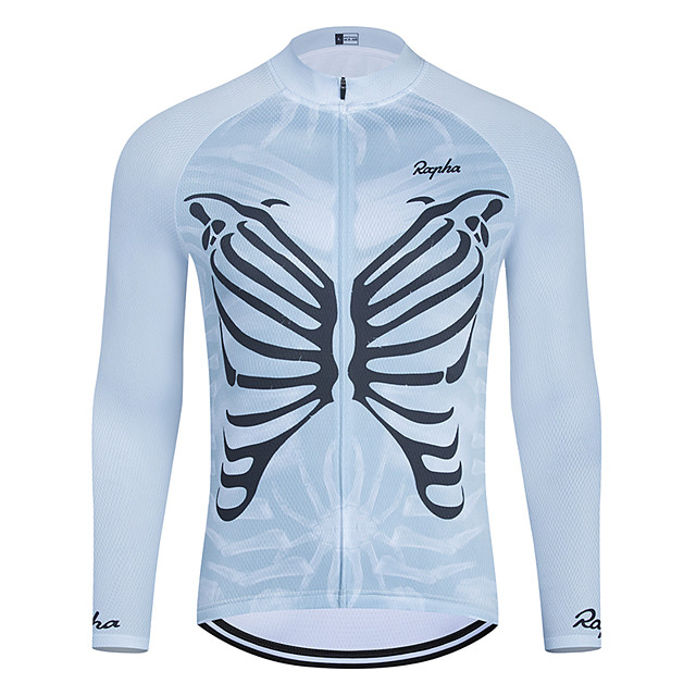 WECYCLE Men's Women's Long Sleeve Cycling Jersey Winter Polyester Blue Skull Bike Jersey Top Mountain Bike MTB Road Bike Cycling Breathable Quick Dry Reflective Strips Sports Clothing Apparel
