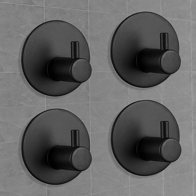 Adhesive Hooks Heavy Duty Wall hooks 4 pack Removable Matte Black Durable 304 Stainless Steel Wall Hangers, Waterproof Rustproof Oil Proof for Kitchen, Bathrooms, Doors, Office, Closet